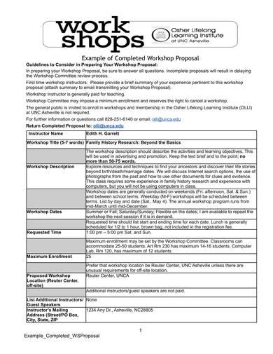 completed training workshop proposal sample