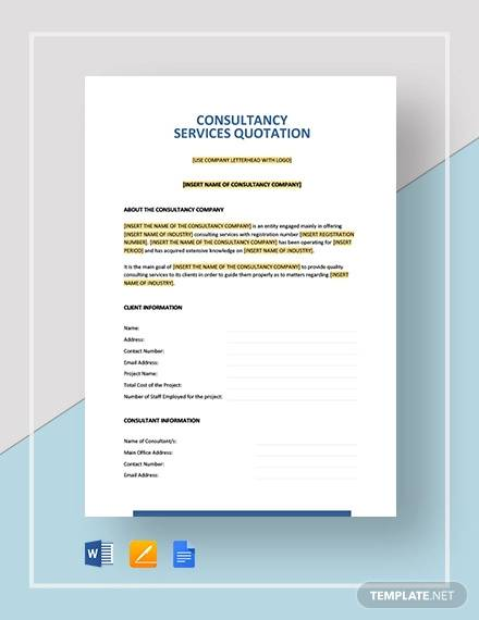 consultancy services quotation template