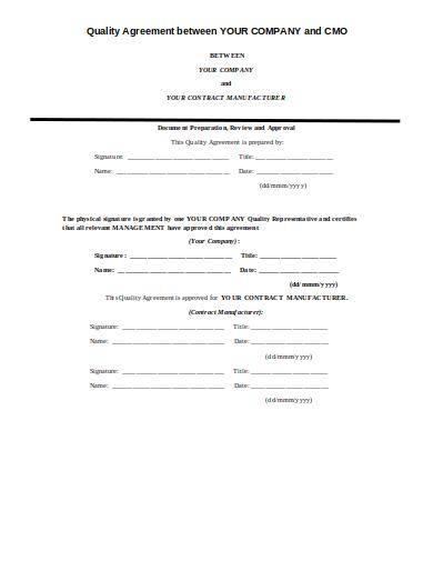 contract manufacturer quality agreement template