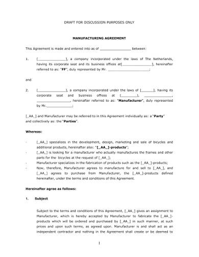 contract manufacturing agreement draft template