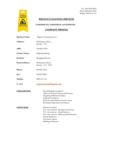 domestic cleaning company profile sample