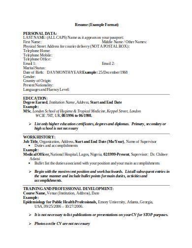 editable resume sample format