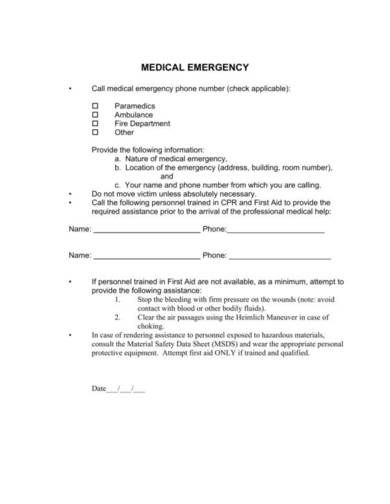 emergency care plan template