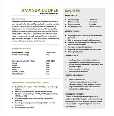 entry level web developer resume template 1
