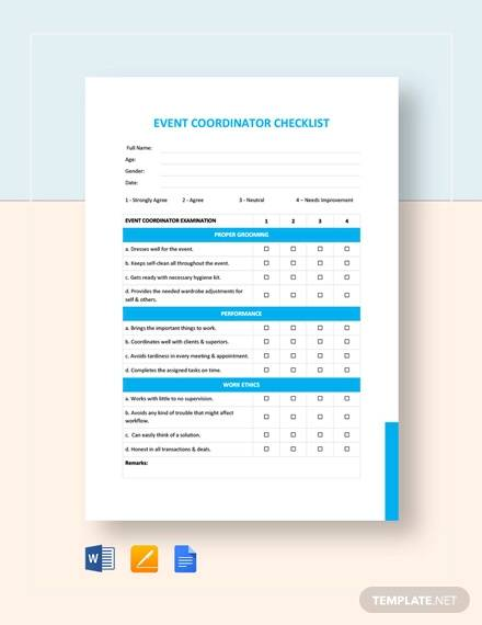 event coordinator checklist template
