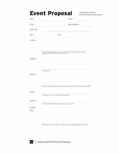 event proposal and budget template