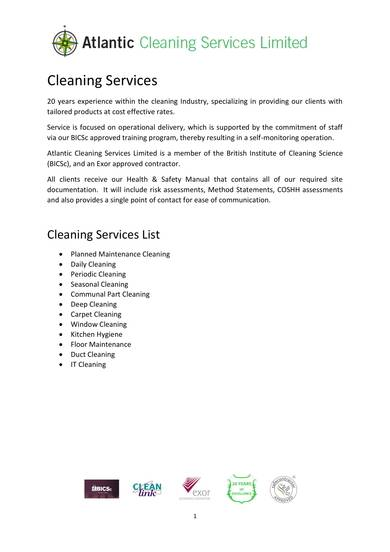 experienced cleaning services company profile sample