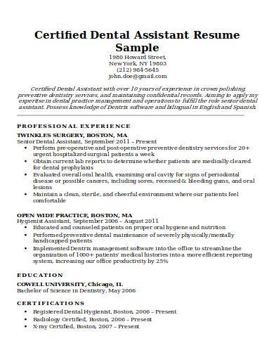 Free 8 Dental Assistant Resume Samples In Pdf Ms Word