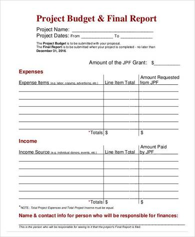 final project budget report template 1