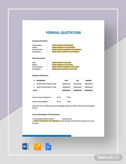 formal quotation template
