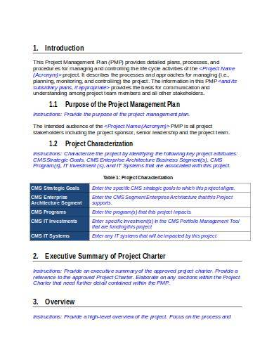 free project management plan template