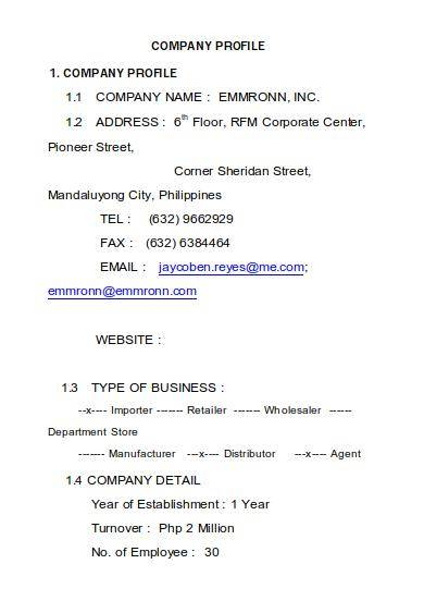 general trading company profile sample