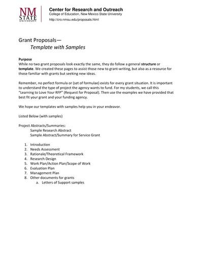 grant proposal templates with sample