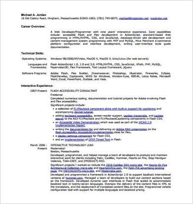 html web developer resume sample 1