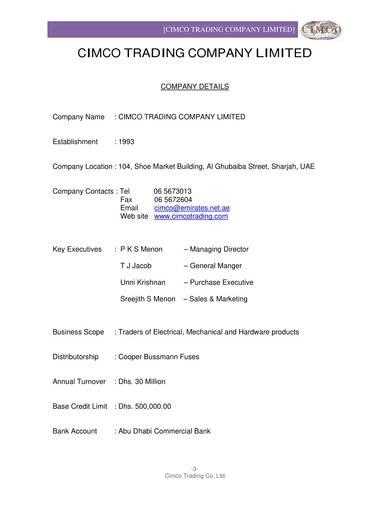 hardware distributor company profile sample