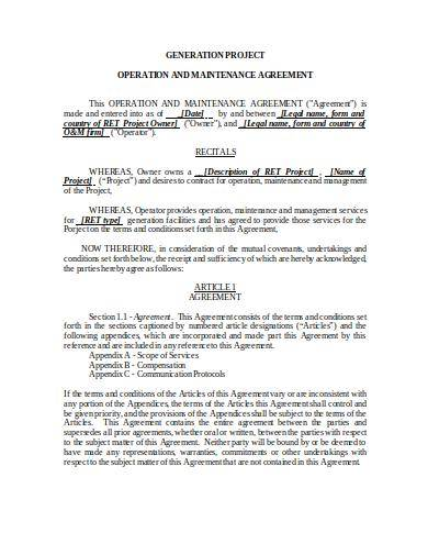 it operations and maintenance agreement template