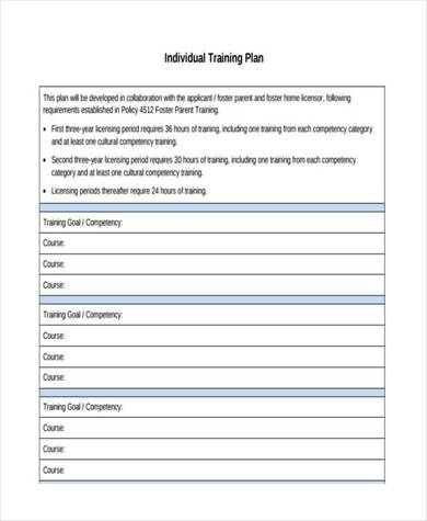 individual training plan sample template