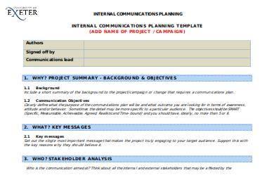 internal communications planning template