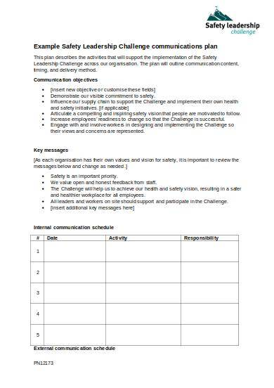 internal communications strategy template