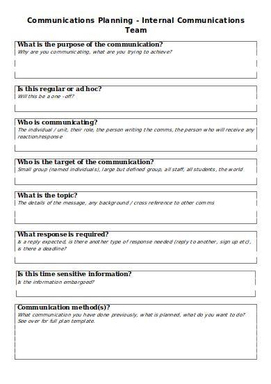 internal communications team planning template