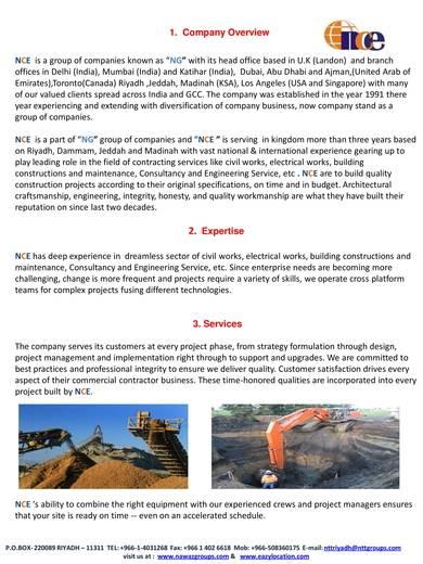 international construction company profile sample