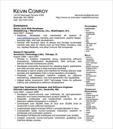 java web developer resume template 1