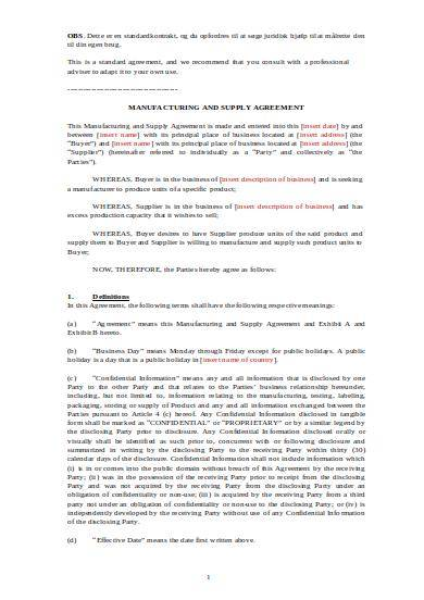manufacturing and supply agreement sample