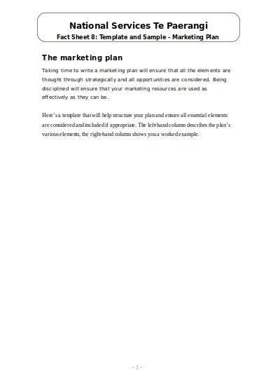 marketing plan sample and fact sheet