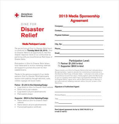 media sponsorship agreement template