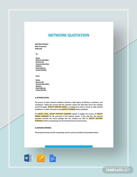 network quotation template
