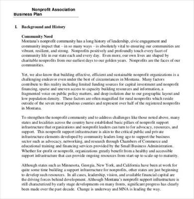 nonprofit association business plan