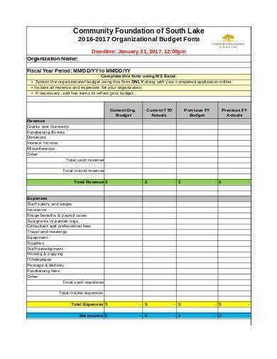 nonprofit budget form