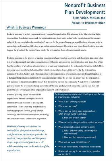 nonprofit business plan development sample
