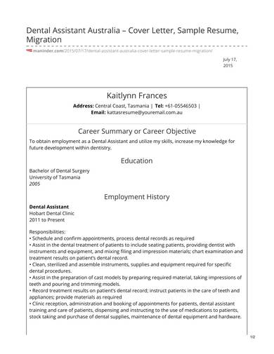Free 8 Dental Assistant Resume Samples In Pdf Word
