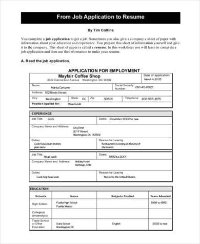 printable job application resume