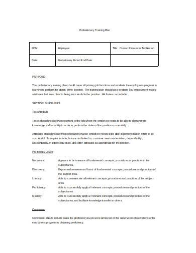 probationary training plan template1