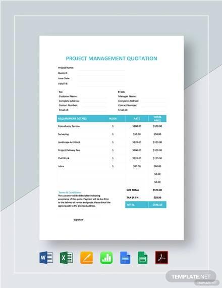 project management quotation template
