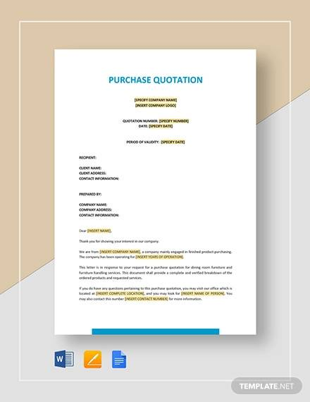 purchase quotation template