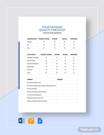 quality checklist template