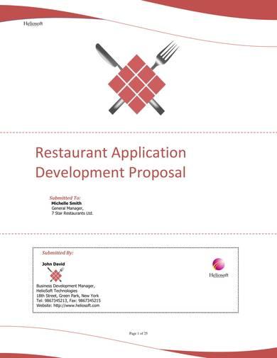 restaurant application development proposal sample