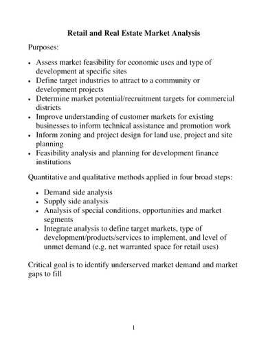 retail and real estate market analysis sample