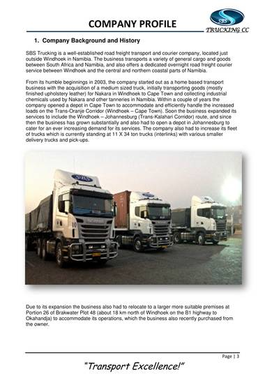 road freight transport compnay profile sample