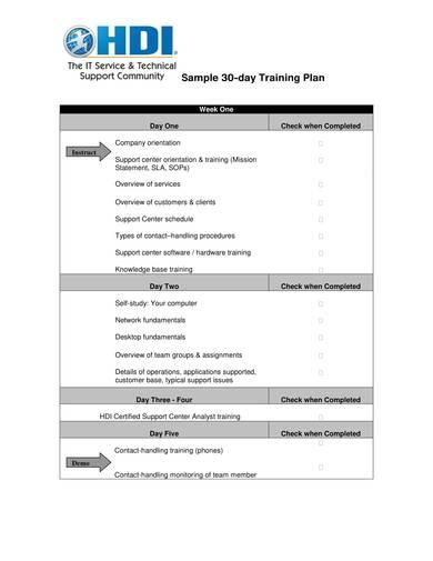 sample 30 day training plan