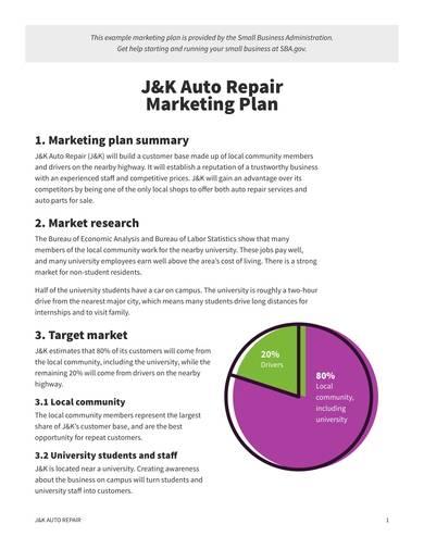 sample auto repair marketing plan
