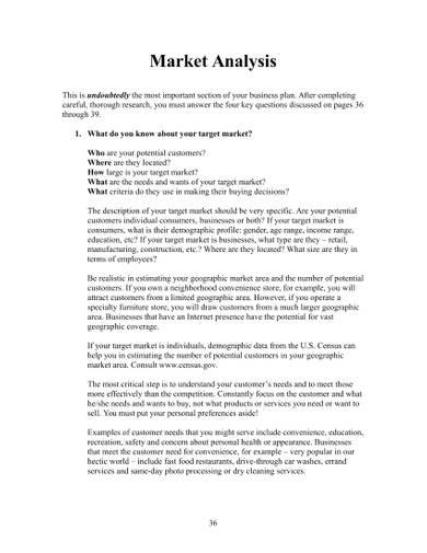 sample business market analysis