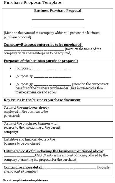 sample business purchase proposal template
