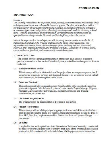 sample corporate training plan outline