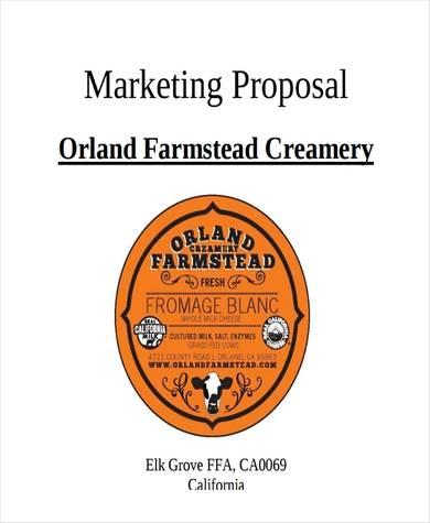 sample creamery marketing proposal