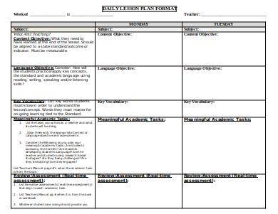 sample daily lesson plan format
