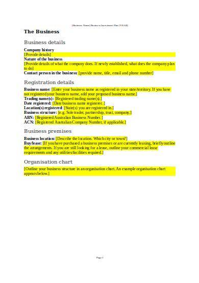 sample investor proposal template for business